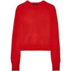 Equipment + Kate Moss Ryder cashmere sweater (13.230 RUB) ❤ liked on Polyvore featuring tops, sweaters, red, loose sweaters, cashmere top, short tops, pure cashmere sweaters and red embroidered top