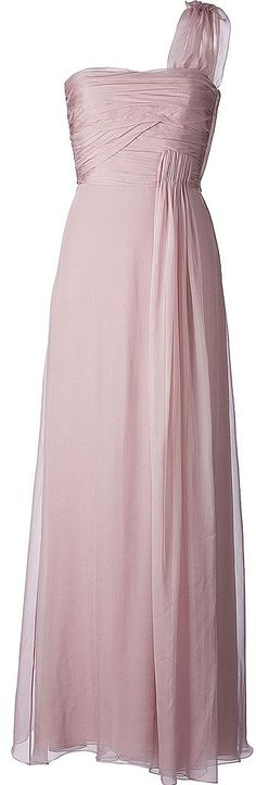 Not in this pink but the style is pretty I think.  VALENTINO  Pale Pink Chiffon Dress. style of wedding dress or bridesmaid dress.