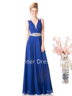 A-Line V-Neck Sleeveless Chiffon Low-V Back Dress With Waist Jewellery And Pleats