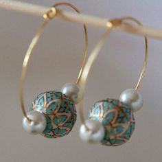 Sea blue Meenakari Hoops on Etsy, $26.00