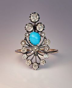 Antique Turquoise & Diamond Silver Topped Gold Ring - Antique Jewelry | Vintage Rings | Faberge Eggs