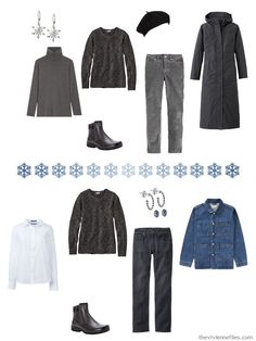 Cool Winter Color Palette, Winter Colors, The Vivienne, Wearing Black, Wardrobes, Well Dressed, Capsule Wardrobe, Plus Size Fashion, Blue Grey
