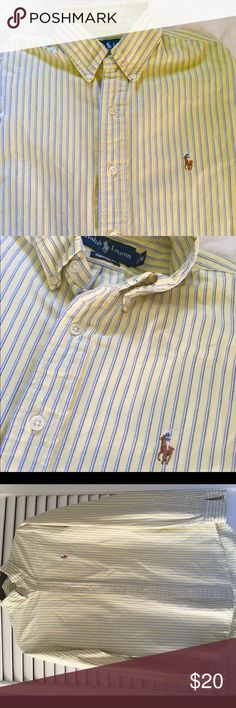 Men's Polo by Ralph Lauren long sleeve dress shirt Beautiful and preppy, this pale yellow and blue striped Polo shirt is perfect for all occasions.  Men's size medium in excellent condition, no stains, no fraying on collar nor cuffs.  My camera makes it look like a slightly different cope on the bottom, this is not the case.  Colors are perfect!  Smoke free, pre-loved and a fraction of retail cost. Polo by Ralph Lauren Shirts Dress Shirts