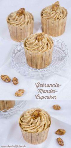 Leckere Gebrannte-Mandel-Cupcakes zur Adventsschlemmerei. Weihnachtliche Mandelcupcakes mit leckerem Frosting mit gebrannten Mandeln   www.schninskitchen.de