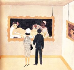Illustration of Jacqueline and John F. Kennedy by Jacqueline Duheme from the book  Mrs. Kennedy Goes Abroad.