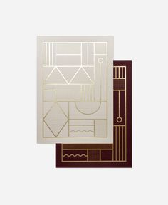Card Set – 2 foiled cards Size: x 21 cm ( ) when folded Printed in Denmark The geometric patterns are inspired by the beautiful old iron. Art Deco Design, Icon Design, Art Deco Logo, Textures Patterns, Geometric Patterns, Marca Personal, Line Design, Set Design, Business Card Design
