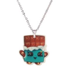 2016 Fashion Acrylic Cartoon Chocolate Bar Pendant Necklace for Children Metal Silver Chain Necklaces & Pendants Girl's Gifts