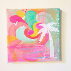 Tropical Palmtree No. 1 - an original acrylic painting door XantheCS op Etsy