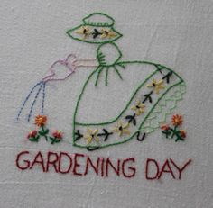 "Hand Embroidered ""Girl"" Flour Sack Kitchen Dish Towels Set of 7   eBay"