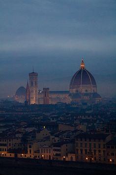 Florentine skyline at dusk from Michelangelo's Plaza, Italy Tuscany