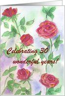 Happy 30th Wedding Anniversary Celebration Red Roses Card by Greeting Card Universe. $3.00. 5 x 7 inch premium quality folded paper greeting card. Wedding Anniversary invitations to celebrate any upcoming event are available at Greeting Card Universe. Make your loved ones feel special with a custom invitation. Let Greeting Card Universe help you find the best Wedding Anniversary invitation this year. This paper card includes the following themes: 30 years of marriage, e...