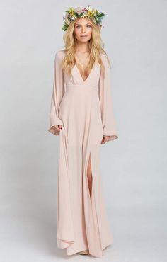 Show Me Your Mumu Venus Long Sleeve Flare Dress ~ Dusty Blush Crisp