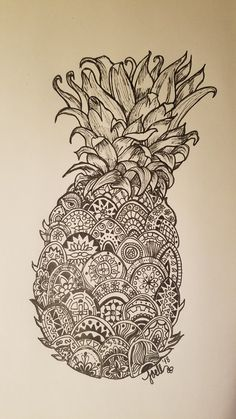 Pineapple for BBB. Alphabet, Zentangles, Body Art, Pineapple, Tattoo Ideas, Skull, Inspiration, Tattoos, Decor