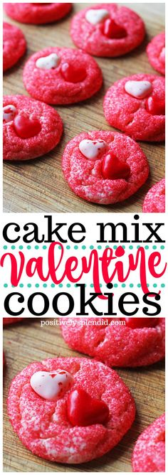 Easy Valentine's Day cookie recipe made with a cake mix. Easy Valentine's Day cookie recipe made with a cake mix. Valentine Desserts, Valentines Day Cookies, Valentines Baking, Valentines Day Dinner, Valentine Cookies, My Funny Valentine, Kids Valentines, Valentines Recipes, Valentine Party