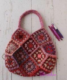 Crochet granny square tote bag.