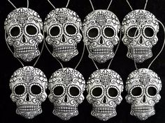 Day Of The Dead/ Sugar skull, Gothic Christmas tree ornaments, black and white. Set of 8 Christmas Fabric, Christmas Star, Christmas Tree Ornaments, White Christmas, Merry Christmas, Halloween Tree Decorations, Halloween Trees, Gothic Halloween, Button Ornaments