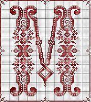 M in cross stitch