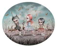 Carrion Songbirds by Mab Graves - Gallery Nucleus Hi Fructose, Moon Print, Pop Surrealism, Whimsical Art, Bird Prints, Local Artists, Amazing Art, Illustrators, Art Gallery