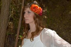 Orange Sunset Flower Crown - rustic bark vine crown with vibrant sunset hued blooms in orange, reds and golds - sunset bride halo on Etsy, $35.00