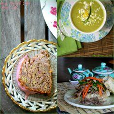 Strawberry Rhubarb Cake, Chilled Asparagus Pea Soup, BBQ Pork Banh Mi Food Done Light