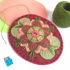 Zen Stitching - How to Embroider a Mandala with No Pattern Felt Embroidery, Felt Applique, Felt Fabric, Fabric Art, Felt Flowers, Fabric Flowers, Felt Bookmark, Wool Applique Patterns, Wool Quilts
