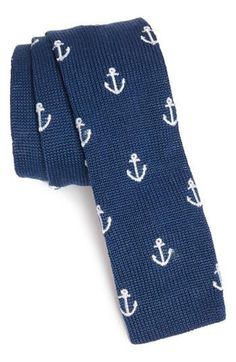 Knit Blue Tie with white Anchors. Men's Spring Summer Fashion.