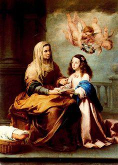 Santa Ana enseñando a leer a la Virgen.