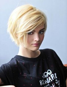 Short Blond Haircut with Side Swept Bangs