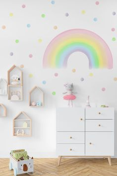Brighten your kids room or nursery with these wonderful pastel rainbow and polka dots wall decals. Wall decals are made from my original illustrations and printed on PVC free polyester textile. Girl Bedroom Designs, Kids Bedroom, Girl Bedrooms, Bedroom Ideas, Pastel Girls Room, Pastel Nursery, Playroom Wallpaper, Rainbow Bedroom, Rainbow Room Kids