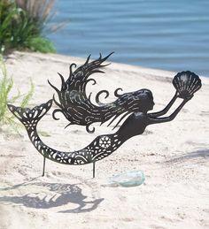 Metal Mermaid Silhouette Garden Stake in Garden Stakes