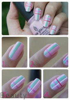 10 Interesting Step-by-Step Striped Nail Tutorials Plaid Nail Art, Plaid Nails, Striped Nails, Tape Nail Art, Nail Art Diy, Diy Nails, Manicure Ideas, Love Nails, How To Do Nails