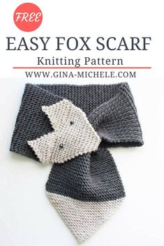 Free knitting pattern for this Easy Fox Scarf! Women & kids sizes. #knitting #knittingpattern
