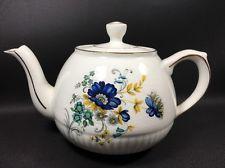 Ellgreave Tea Pot England Blue Flowers White Gold Vintage