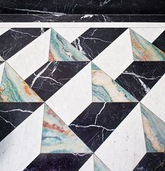 3D effect marble tiles, one way to make a bold geometric statement