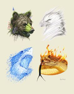 The Four Elements- Limited Edition Animal Art Print. Berkley Illustration The Four Elements- Limited Edition Animal Art Print. Fantasy Creatures, Mythical Creatures, Animal Art Prints, Illustration, Elements Of Art, Four Elements Tattoo, Elements Four, Creature Design, Amazing Art