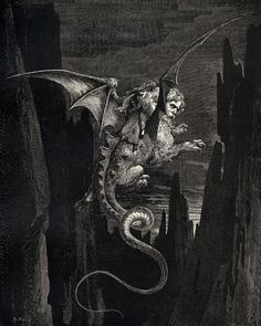 The Inferno, Canto line New terror I conceiv'd at the steep plunge by Gustave Dore (ARC) Gustave Dore, Dante Alighieri, Satanic Art, Dark Drawings, Esoteric Art, Occult Art, Goth Art, Catholic Art, Classical Art