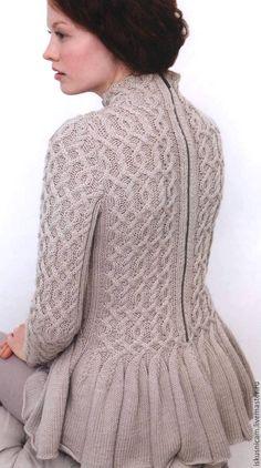 Купить джемпер с баской - джемпер вязаный, джемпер спицами, джемпер женский, свитер вязаный