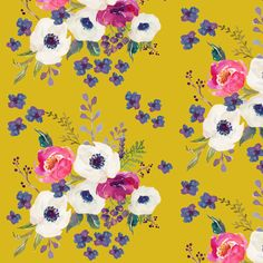 Boho Purple Floral Print -  Mustard Color fabric by shopcabin on Spoonflower - custom fabric