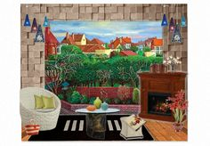 David Hockney painting with textured room