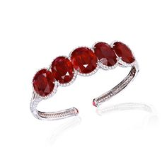 African Ruby and Diamond Bangle