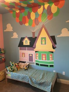 Ellie's Pixar Up themed nursery turned big girl room.  Repainted at our new house.