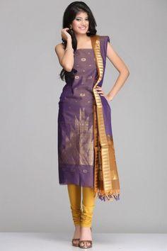 Stylish Purple & Brown Kora Silk Unstitched Suit With Gold Zari Circular & Temple Motif