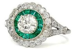 antique emerald engagement rings - Google Search