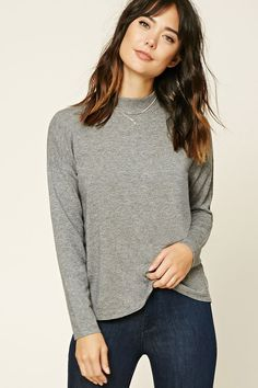 Forever 21 Contemporary - This heathered knit sweater features a high neckline, a boxy silhouette, dropped long sleeves, and ribbed trim.