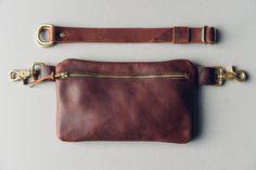 zipper festival fanny pack // full-grain brown kodiak leather