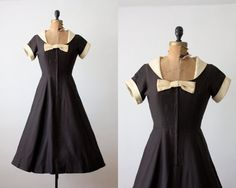 50s dress  vintage 1950s black bow dress  50s party by Thrush, $150.00