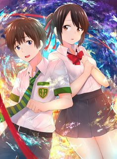 Your Name- Mitsuha and Taki Your Name Anime, All Anime, Anime Art, Kimi No Na Wa, Mitsuha And Taki, Makoto, Anime Couples, Character Design, Pictures