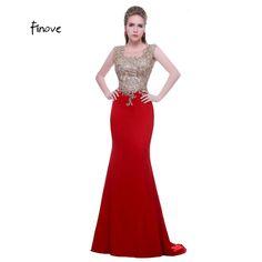 Noble Robes De Bal Nouvelle Mode avec O-cou Sans Manches Appliques Pierre  Rouge Sirène a5267507d58