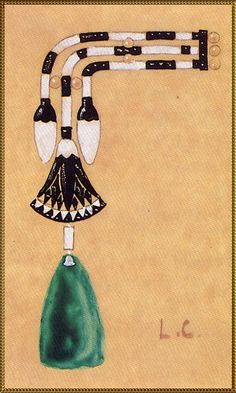 Broche d'épaule ornées de lotus dessins Charles Jacqueau - 1923 for Cartier Collection Cartier Paris