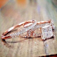 Diamond Wedding Bridal Set 14K Rose Gold Halo Design Engagement Ring 1.90 Tcw. #aonebianco